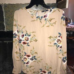 Beige floral blouse